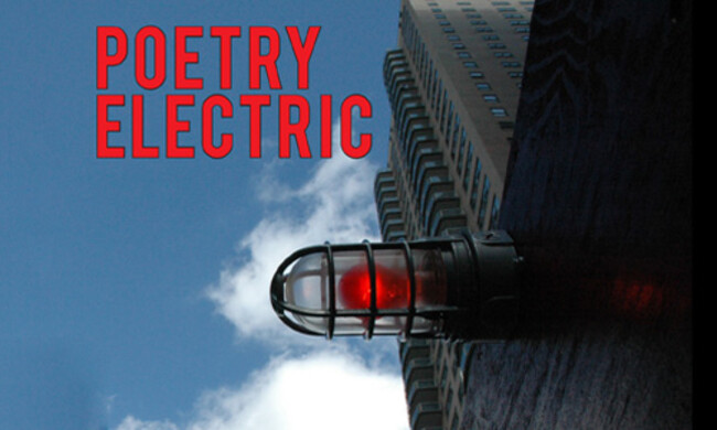 building against blue sky with red text poetry electric