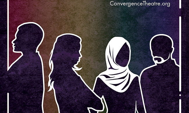 four outlines of people with one in a hijab