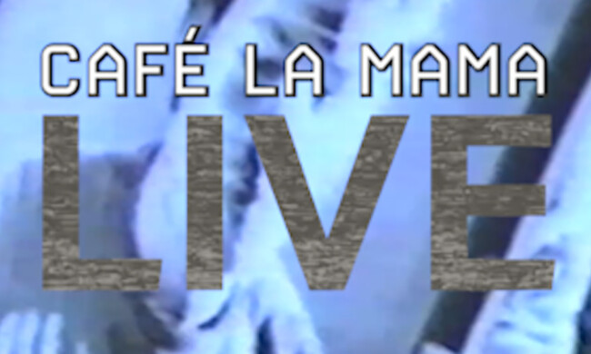 blue digital background with text cafe la mama live