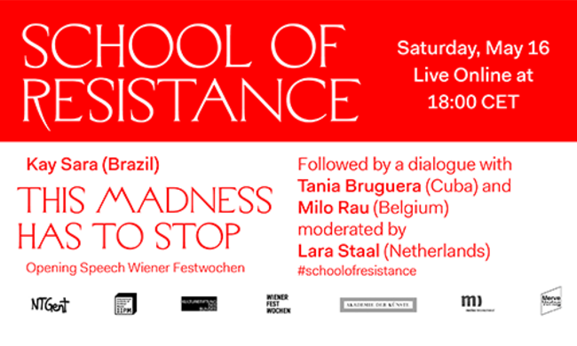 school of resistance conversation series graphic.