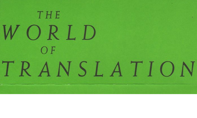 The World of Translation on a green background.