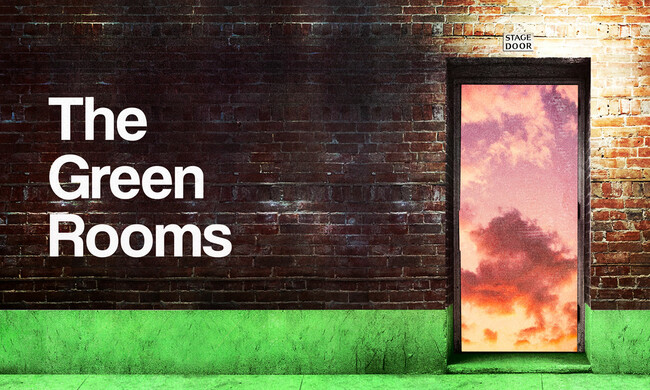 A theatre stage door, open to a sunset. The words The Green Rooms on the brick wall.