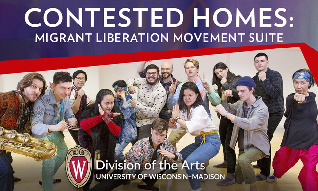 "Group of people posing under the text ""Contested Homes: Migrant liberation movement suite"""