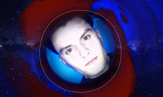 a face in a circle in a photo of space, with red and blue swirls