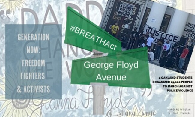 illustration of street signs with #BREATHEACT and George Floyd Blvd