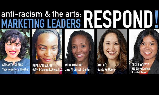 antiracism and the arts - marketing leaders respond. headshots of five participants.