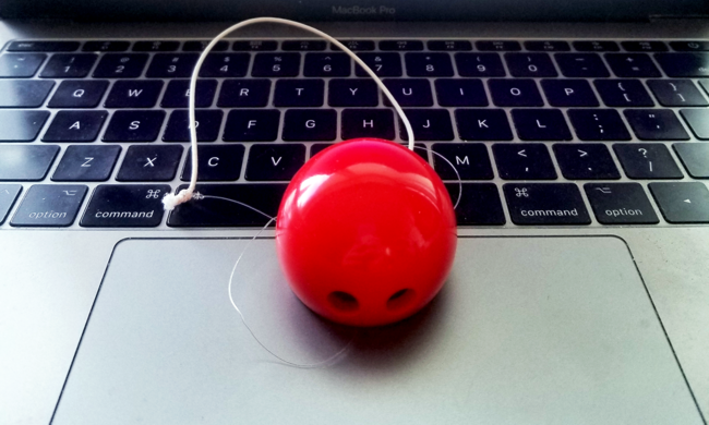 a clown nose on a laptop