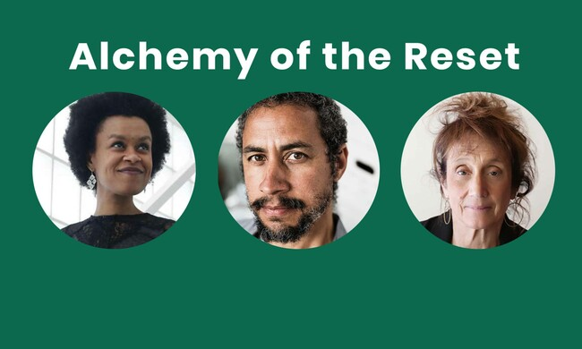 text: alchemy of the reset, photos of Meklit Hadero, Brett Cook, and Liz Lerman