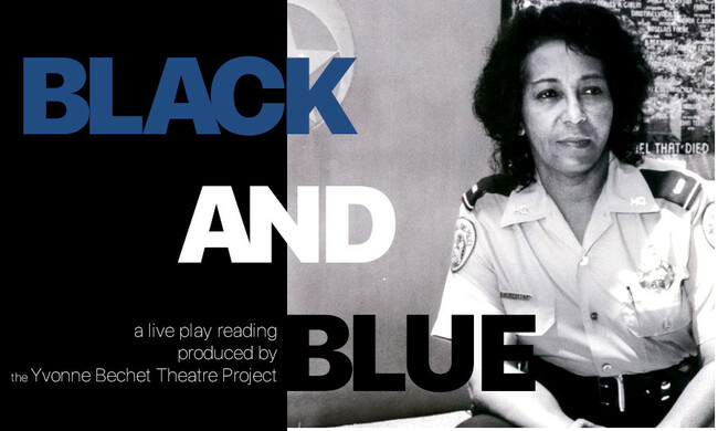 black and white photo of policewoman with text black and blue