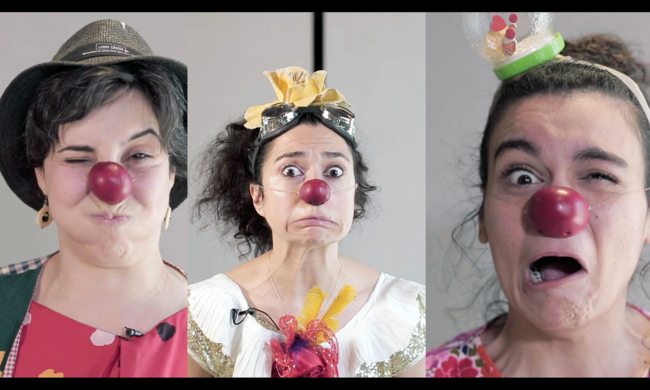 triptych of three clowns
