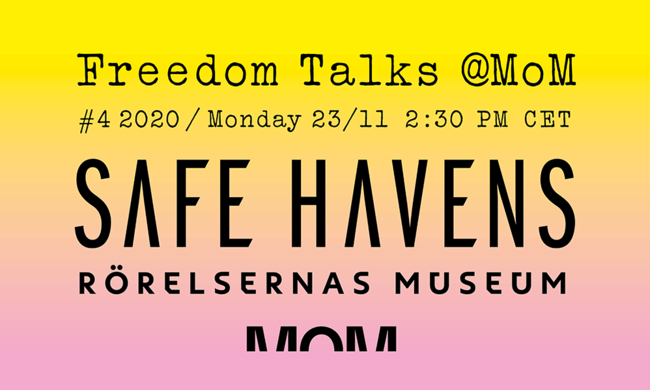 Freedom Talks and Safe Havens event poster.