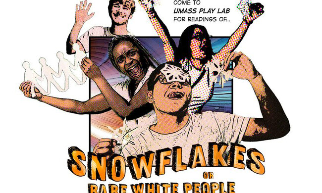 "a poster with four people on it. it reads ""a snowflake: or rare white people"""