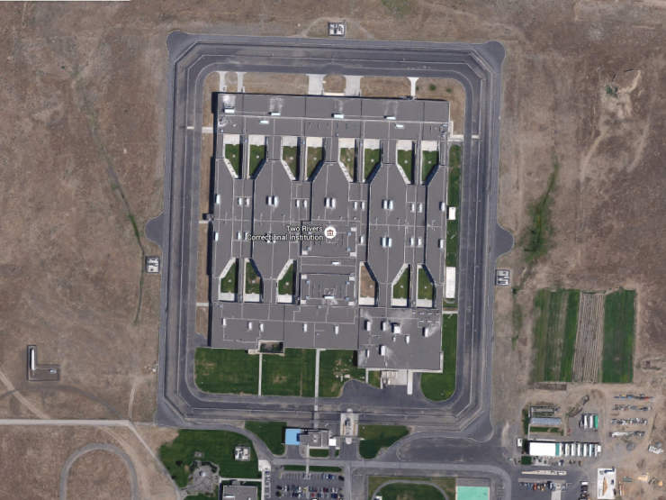 aerial view of a prison
