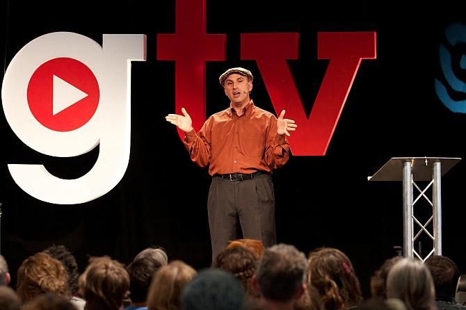 Peterson giving a lecture in front of a crowd