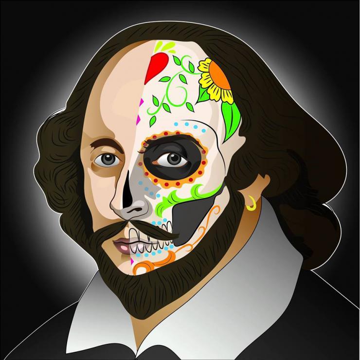 cartoon of shakespeare with calavera makeup
