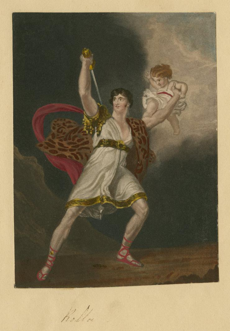 illustration of man holding a baby and a sword
