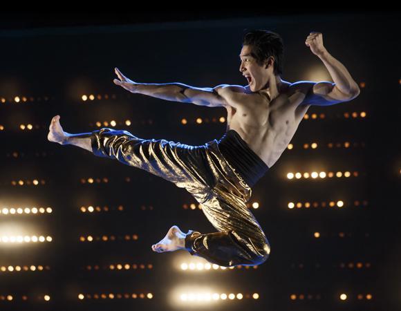 an actor jumping