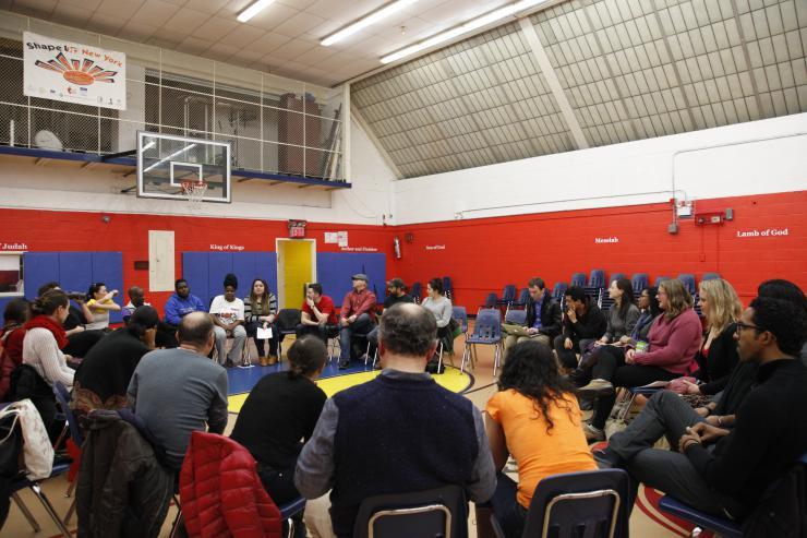 community gathered in a gym