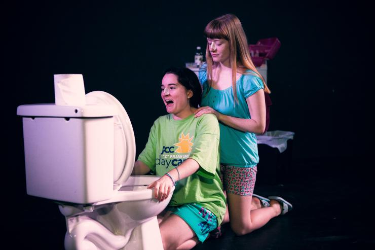two young actresses on stage