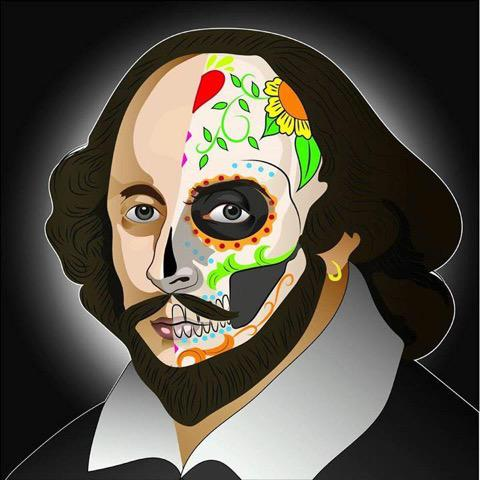 painting of shakespeare with half of his face as a sugar skull