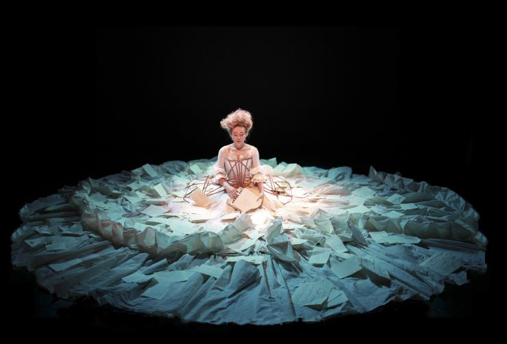 actress in a dress made out of paper