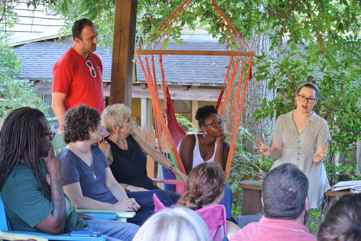 actors meeting outdoors