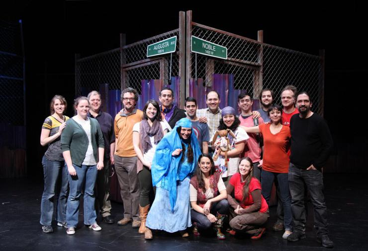 cast and crew on stage