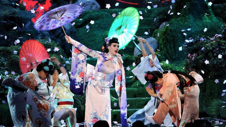 a white singer in a kimono