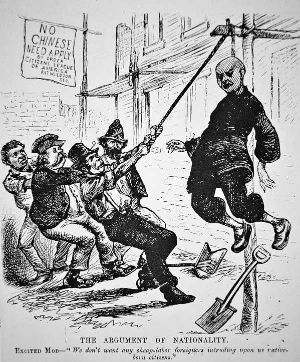 political cartoon of a japanese man being attacked by white men