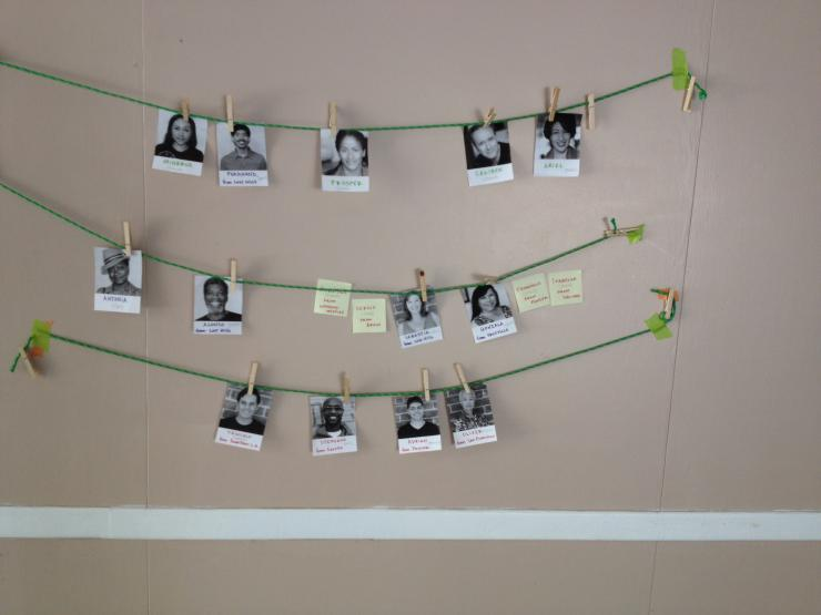 pictures strung up on a clothesline