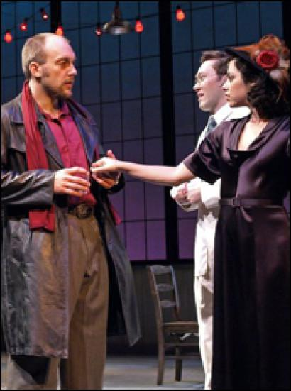 (L-R) Alexander Gemignani, Stanley Bahorek, and Krysta Rodriguez in Saint-Ex, composed by Jenny Giering; Weston Playhouse. Photo by Tim Fort.