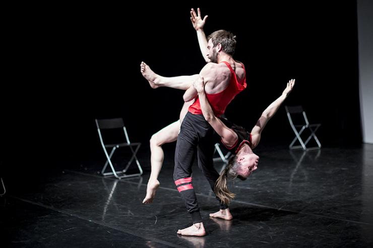 two dancers in a lift