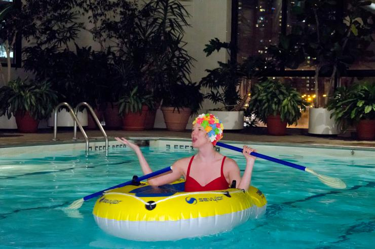 an actress in a pool