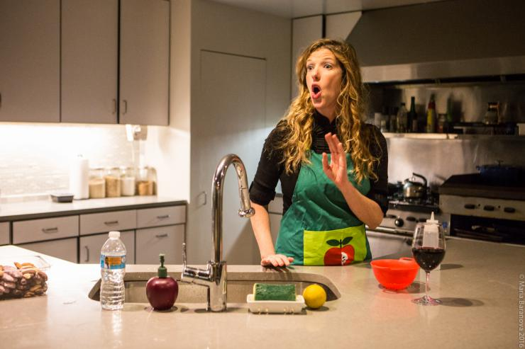 an actress in a kitchen