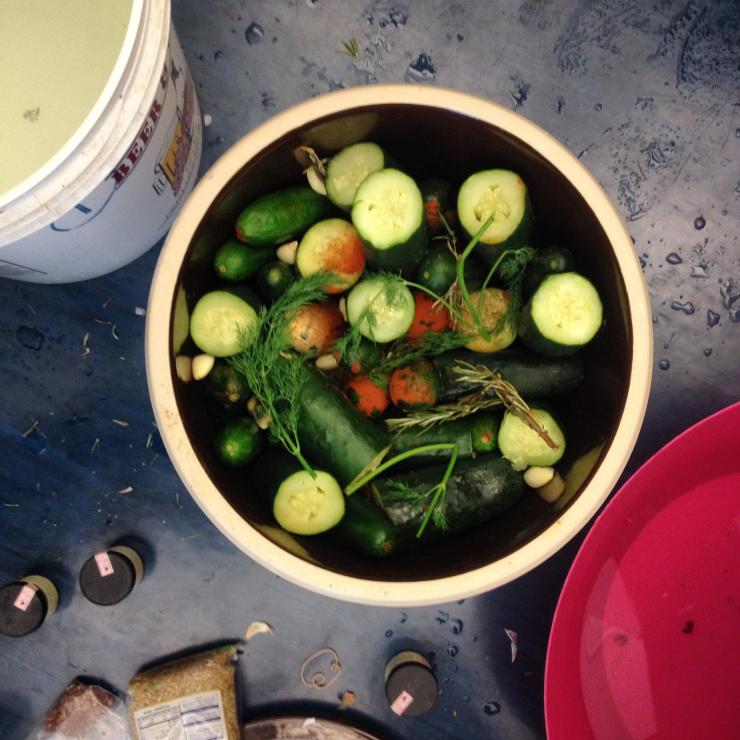 a pot of vegetables