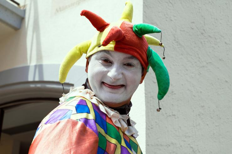 man in a jester costume