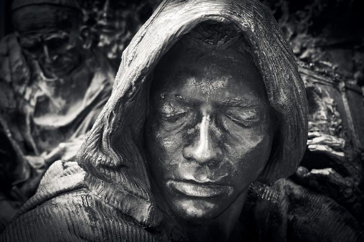 metal statue's face
