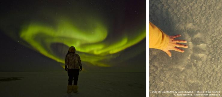 photograph of the northern lights and a hand on sand