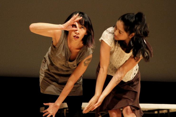 two actresses performing