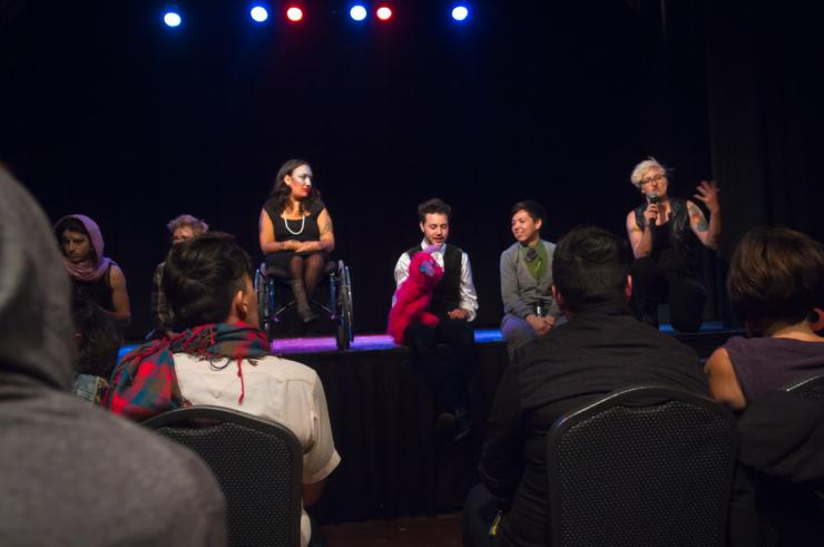 Actors on stage for a talkback