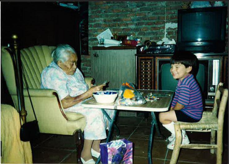 a child with their grandmother