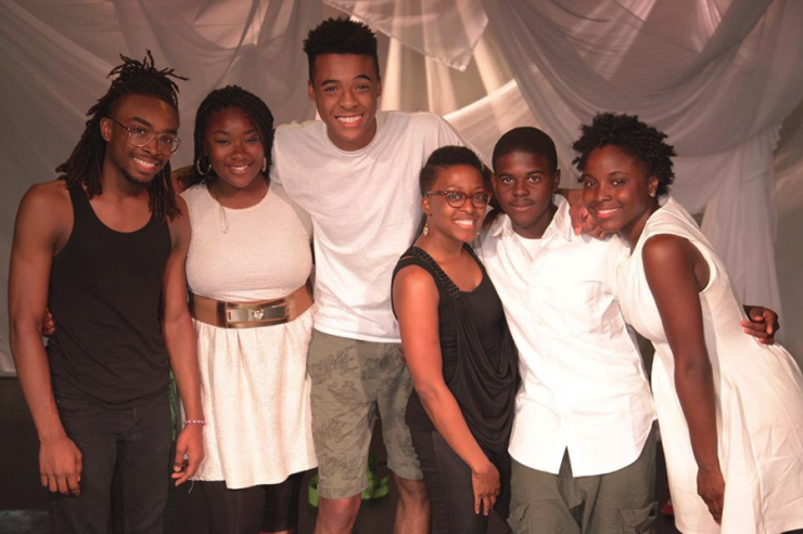 Young people posing for a group photo