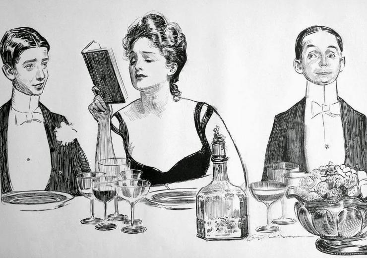 caricature of a dinner party