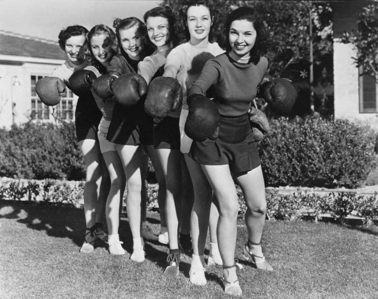 vintage photo of women in boxing gloves
