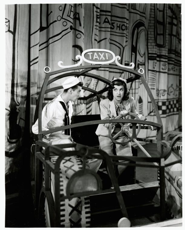 vintage photo of two actors on stage