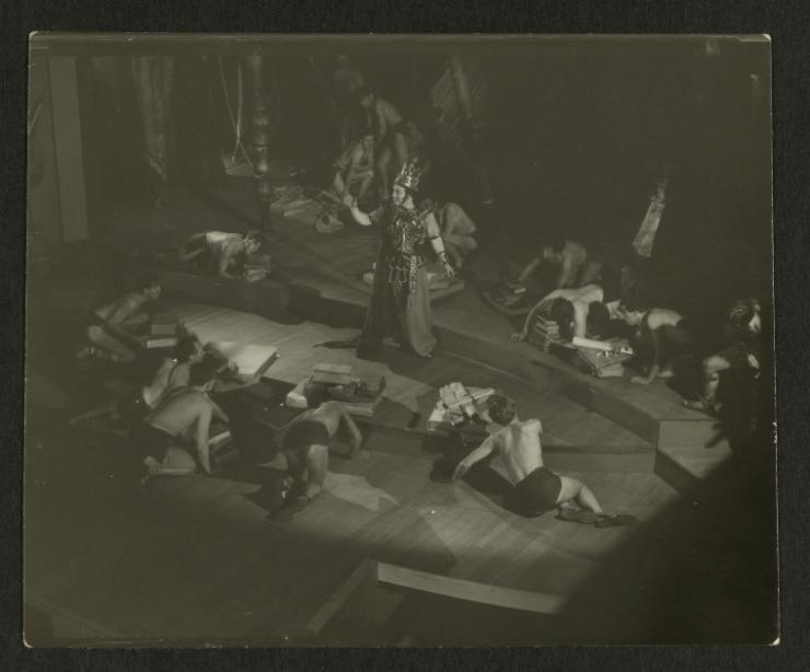 vintage photo of actors on stage
