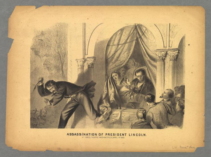 drawing of president lincoln's assassination