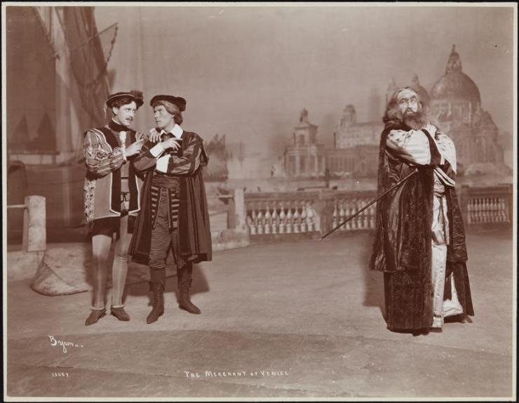 vintage photo, three actors on stage