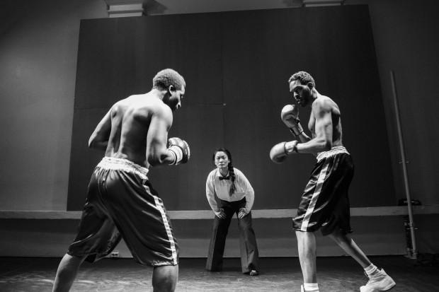 a scene of actors boxing