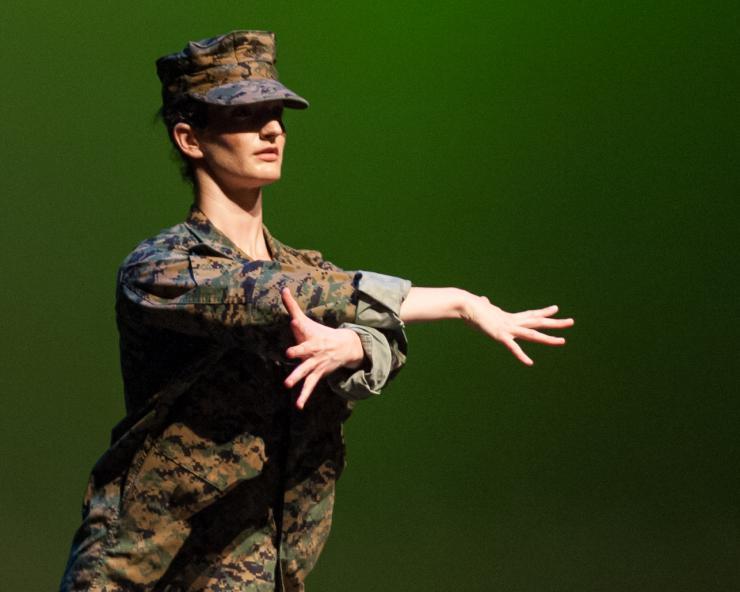dancer in army uniform
